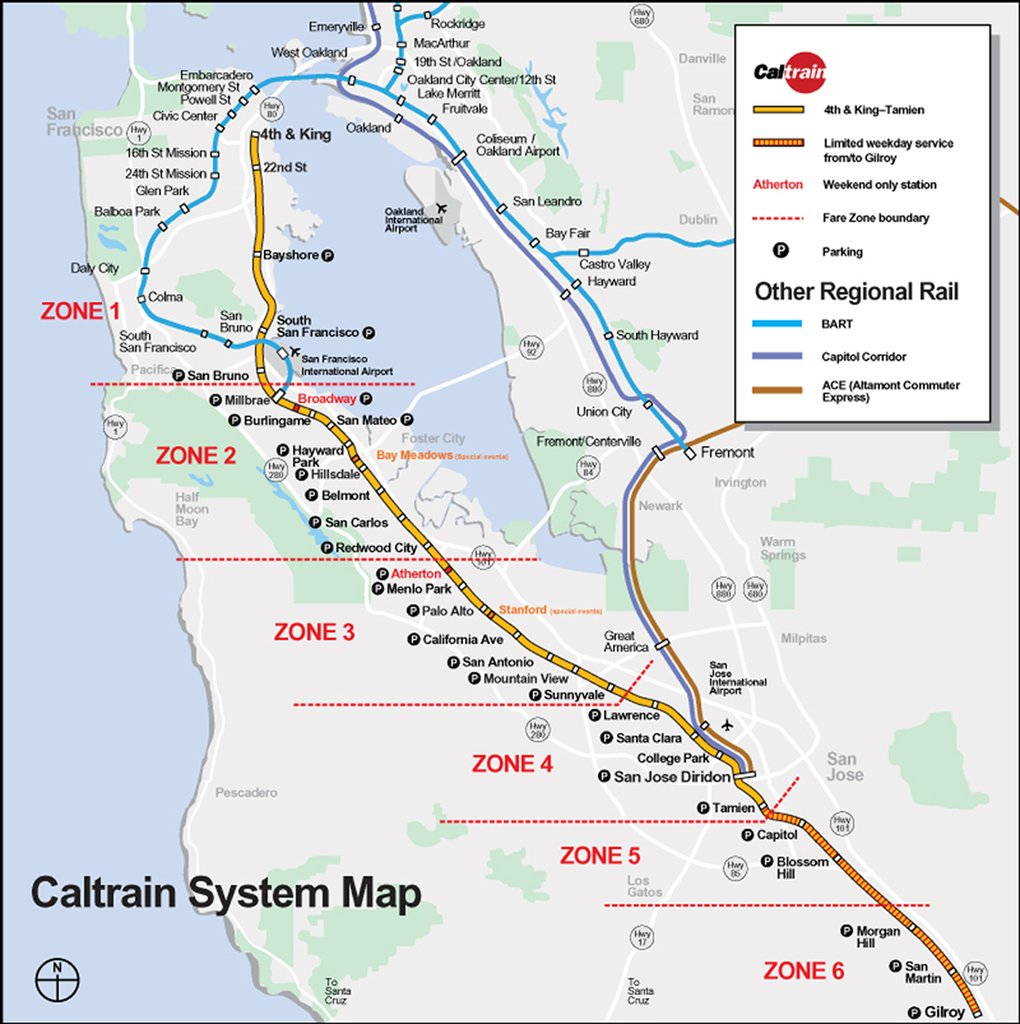 A map of rail transit in the Bay Area -- San Francisco and the East Bay are served by BART, while the peninsula to the west of the bay (with SF at its tip) is served by Caltrain.