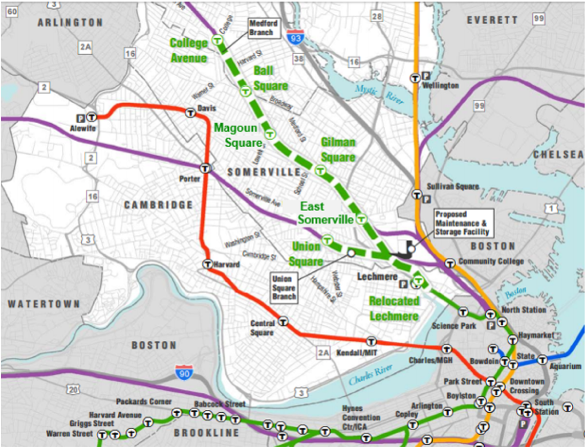 A map of the Green Line extension into Somerville, northwest of Boston proper