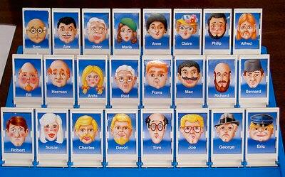 The game of Guess Who?, where an opponent asks questions to try to narrow down a chosen card from a selection featuring many (overwhelmingly white) faces.