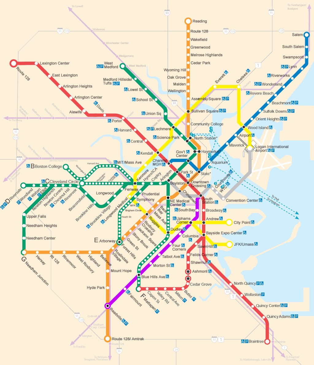A transit map of a greatly expanded MBTA, featuring extensions of most lines and a new circular line outside the city's core.