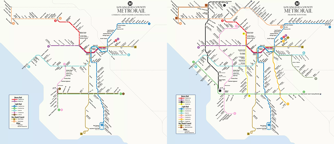 A GIF showing the before-and-after of Los Angeles' Measure M transit plan, depicting the network roughly doubling in size