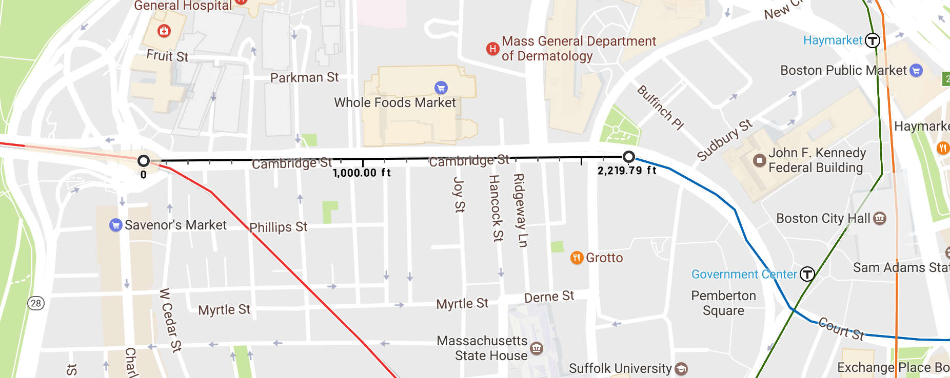 The distance between Bowdoin, the Blue Line's current terminus, and the Charles/MGH Red Line station. Let's all stare at this image and collectively will the black segment into existence.