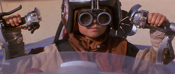 Young Anakin Skywalker on his podracer