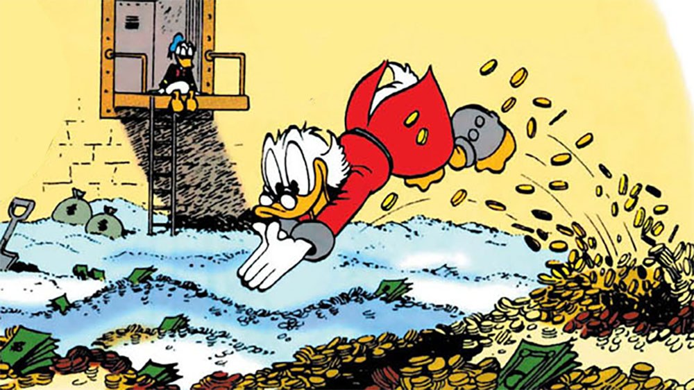 Scrooge McDuck diving into a swimming pool filled with gold coins.