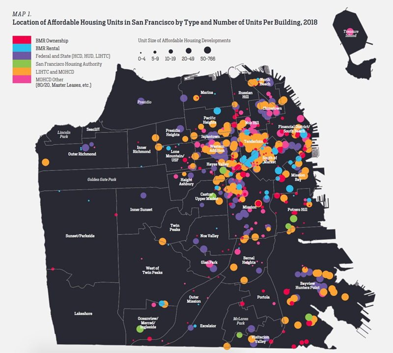 A map of affordable housing projects in San Francisco, largely clustered in the city's northern half near Market Street.